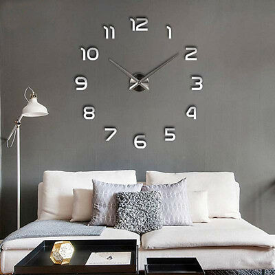 DIY 3D Large Wall Clock Frameless Mirror Number Sticker Modern Art Decal Decor