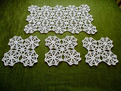 VINTAGE TRAY CLOTH HAND CROCHET with 3 MATS - WHITE