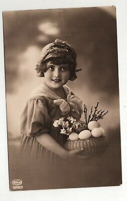 t children early old antique postcard greetings fashion girl