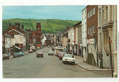 po wales welsh early old antique  postcard united kingdom broad street newtown