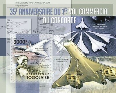 Air France / BA CONCORDE & Pilot Andre Turcat Aircraft Stamp Sheet (2011 Togo)