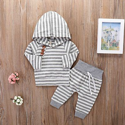 2pcs Newborn Toddler Baby Boy Girl Clothes Hooded Sweater Tops+Pants Outfits Set