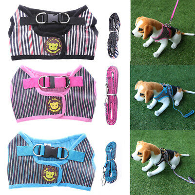 Adjustable Pet Puppy Dog Breathable Lead Vest Harness Collar Chest Strap Leash