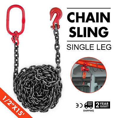 "1/2"" x15' GRADE 80 Chain Sling SOG Corrosion Resistance Powder Coating Steel"
