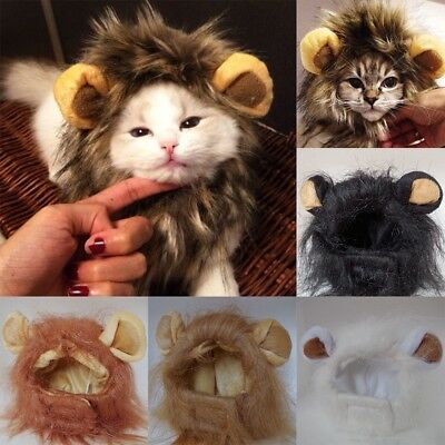 Pet Costume Lion Mane Wig Head Warmly Hat for Dog Cat Festival Clothes With Ear