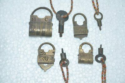 4 Pc Old Brass Handcrafted Engraved Small Different Screw Padlock