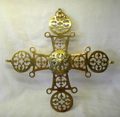 "Vintage brass cross from a Byzantine Choros, church chandelier part. 13"" cross"