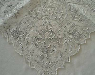 Vintage Madeira Linen Wedding Hanky Elaborate Silver Embroidery Needle Lace A