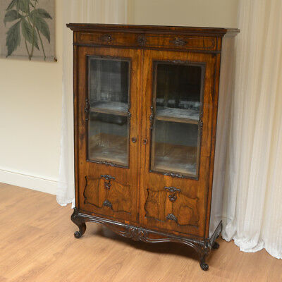 Spectacular Victorian Rosewood Antique Display Cabinet