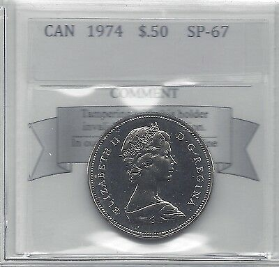 **1974**,Coin Mart Graded Canadian .50 Cent, **SP-67**