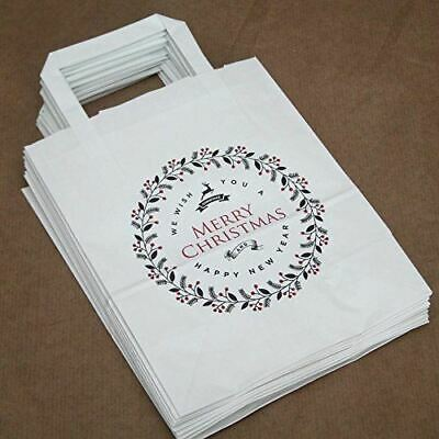 Merry Christmas Party Bags White with Handles x 10 Christmas / Gift Bags