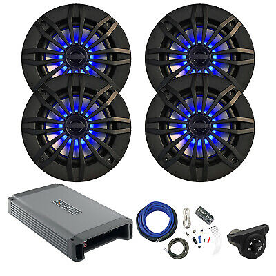 "4 x 6.5"" Speakers w/ Blue LED, Amplifier, Interface Controller, Amp Install Kit"
