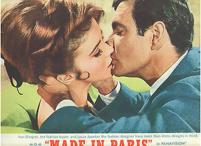 Made In Paris Ann Margret Louis Jourdan Kissing Vintage Original U.s. Lobby Card