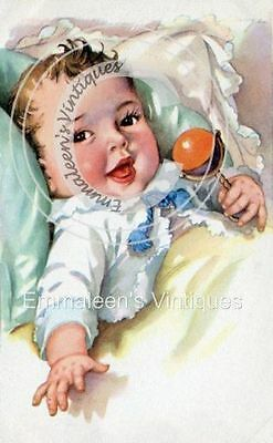 Vintage Image Shabby Victorian Baby Infant With Rattle Waterslide Decals BAB629