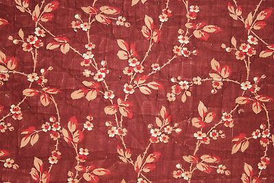 Antique French madder brown printed cotton fabric small floral design c 1840