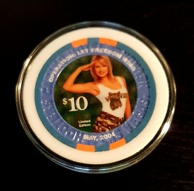 $10 Las Vegas Hooters Operation Let Freedom Wing Casino Chip - Uncirculated