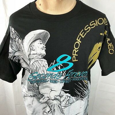 PRCA Pro Rodeo 8 Seconds Forever Bronc Rider Vtg T-Shirt XL America NOS