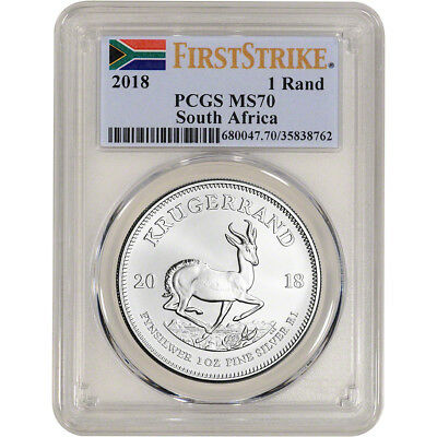 2018 South Africa Silver Krugerrand 1 oz 1 Rand - PCGS MS70 - First Strike