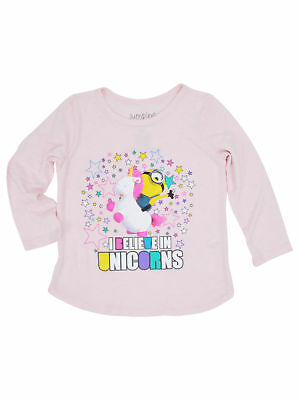 Despicable Me Toddler Girls Minions Unicorns Long Sleeve Shirt Pink