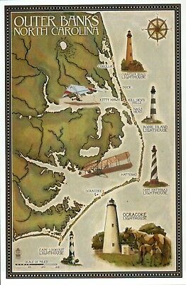 Outer Banks North Carolina Lighthouses & Town Map Hatteras etc - Modern Postcard