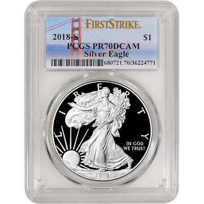 2018-S American Silver Eagle Proof - PCGS PR70 DCAM First Strike Golden Gate