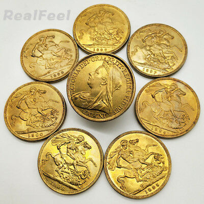 8PCS/LOT Great Britain UK British Gold Coin Set Collection Victoria 1 Crown