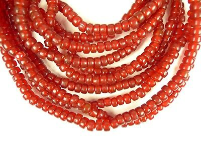 5 Strand Matched Lot Bright Red Tribal Glass Trade Beads Estate Collection