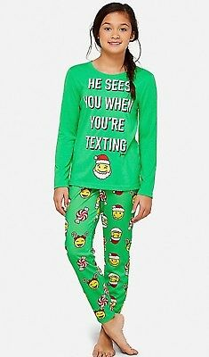 NWT Girls Justice 2-Piece Long Sleeve & Pant Christmas w/Emoji's Pajamas  18/20