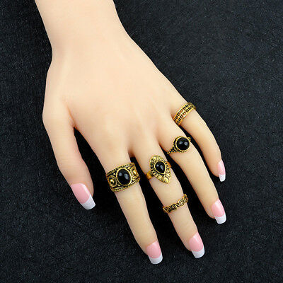 5Pcs Fashion Vintage Ladies Knuckle Rings MIDI Hippie Tail Ring Joint Ring LG