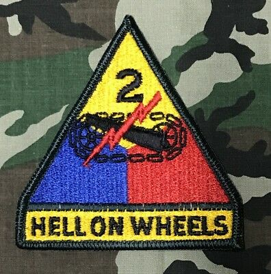 US ARMY 2nd Armor Division HELL ON WHEELS Full Color Uniform patch Aufnäher