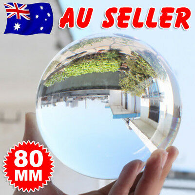 80mm Clear Glass Artificial Crystal Healing Ball Photography Sphere Decoration