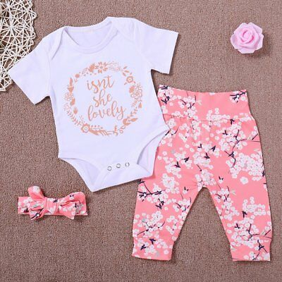 Newborn Baby Girl Romper Tops Jumpsuit Floral Pants Headband Outfits Clothes Set