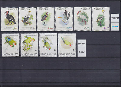 065304 Vögel Birds Angola 701-06 + 891-94 ** MNH Year 1984 + 1992