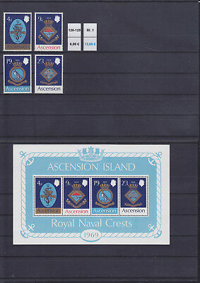 065317 Schiffe Ships Wappen Coat of Arms Ascension 126-29 + Block 1 ** MNH 1969