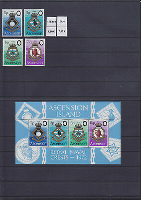 065320 Schiffe Ships Wappen Coat of Arms Ascension 156-59 + Block 4 ** MNH 1972