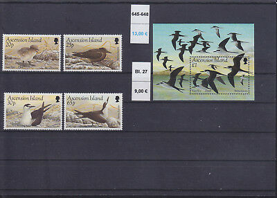 065327 Vögel Birds Ascension 645-48 + Block 27 ** MNH Year 1994