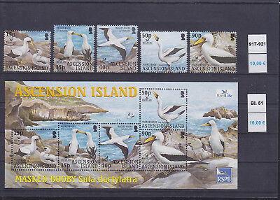 065335 Vögel Birds Ascension 917-21 + Block 51 ** MNH Year 2004