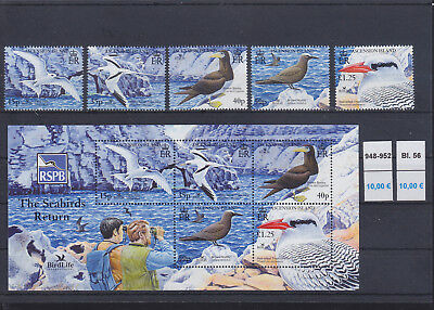 065337 Vögel Birds Ascension 948-52 + Block 56 ** MNH Year 2005