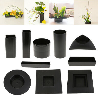 Plastic Ikebana Suiban Vase Pot Bonsai Flower Container Various Shape Black