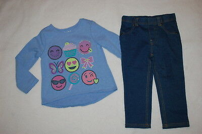 6396d99e0ac71e Toddler Girls L/S BLUE HI-LOW SHIRT Emoji Cupcake DENIM LOOK JEGGINGS Size