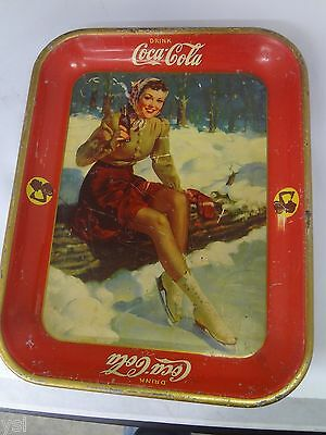 AUTHENTIC COKE COCA COLA 1941 ICE SKATING  ADVERTISING SERVING TIN TRAY 708-k