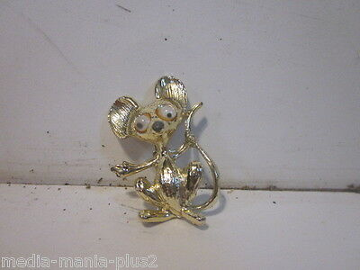 Vintage Gold Tone Googly Eyes Comical Mouse Pin Brooch