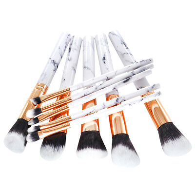 10x pro marble makeup brushes cosmetic powder eyeshadow face brush tool white UK