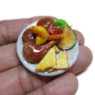 3.50 cm Dollhouse Miniatures Salmon Steak Shrimp French Fried Food on Plate  1