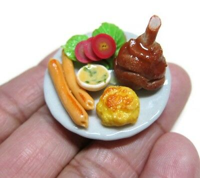 3.50 cm Dollhouse Miniatures Pork Ribs Sausage Food on Plate  10