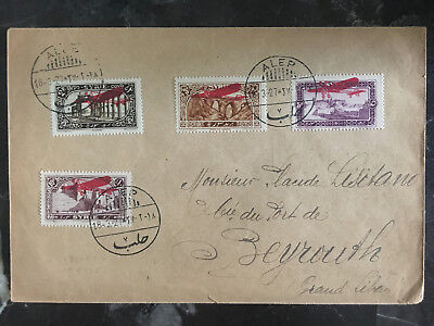 1927 Aleppo Syria First Flight Cover to Beirut Lebanon FFC Airmail