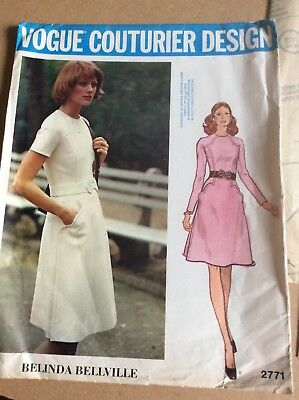 1970's Vogue Couturier Belinda Belleville sewing pattern panel dress sz 8 uncut
