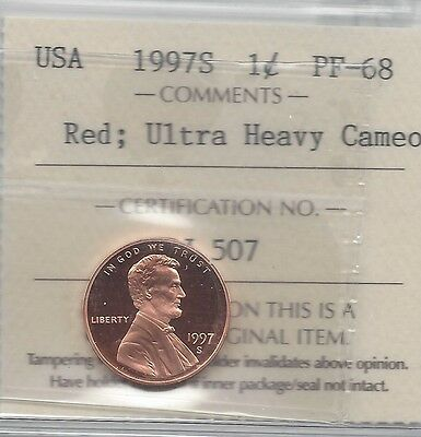 **1997S** USA, Lincoln Memorial, Small One Cent,  ICCS Graded PF-68 UHC