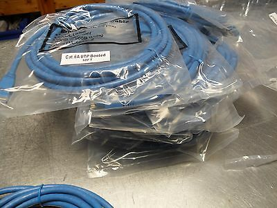QTY 10 Ethernet Patch Cable 6A UTP BOOTED Snagless/Molded Boot/ RJ45 / 10' long