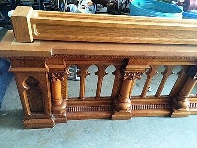Antique Solid Oak Carved Church Prayer Rail Archtectural Salvage Gothic